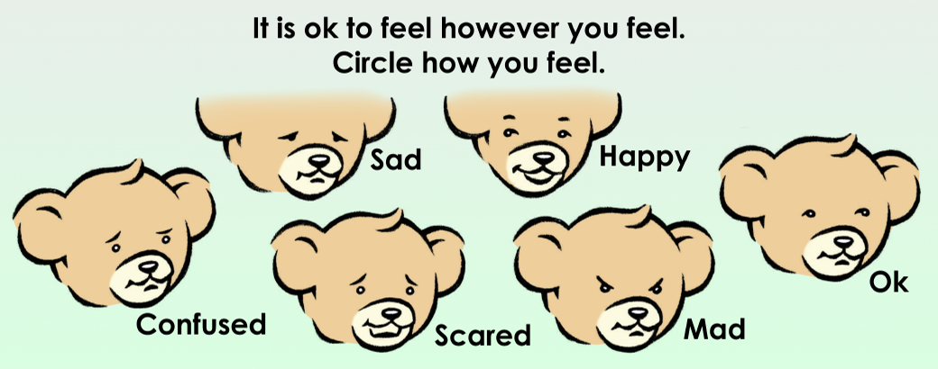 It is ok to feel however you feel. Circle how you feel.